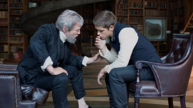 Jeff Bridges (The Giver) and Brenton Thwaites (Jonas)