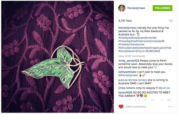 LOTR Elven Leaf Brooch. Photo Credit: Sarah J. Maas Instagram