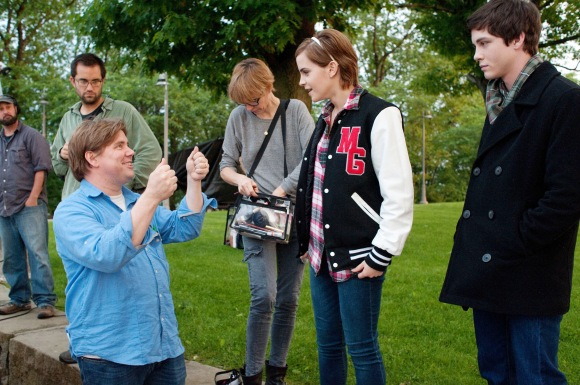Stephen Chbosky with Emma Watson and Logan Lerman